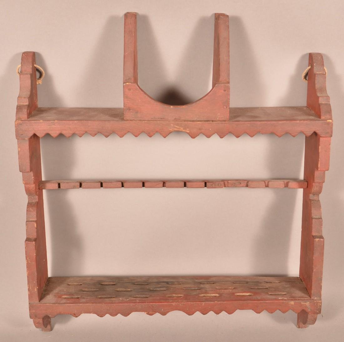 Three Various Antique Wood Wall Racks. - 2