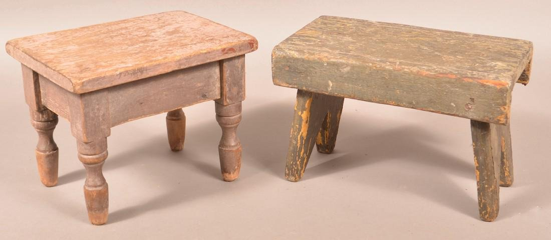 Two Various Antique Painted Wood Stools.