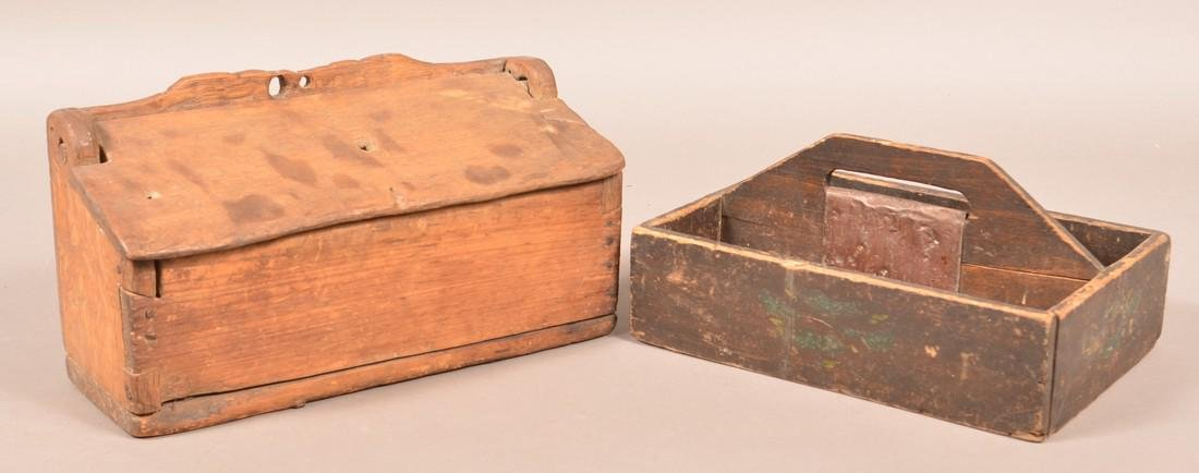 Primitive Wood Wall Box and Utensil Carrier.