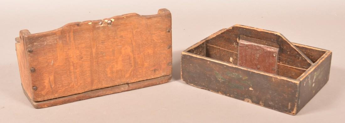 Primitive Wood Wall Box and Utensil Carrier. - 2