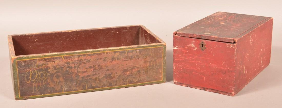 Two Various Painted Wood Boxes.