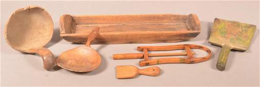 Lot of Six Antique Wooden Utilitarian Wares