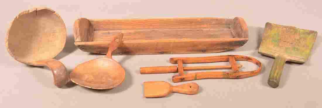 Lot of Six Antique Wooden Utilitarian Wares.