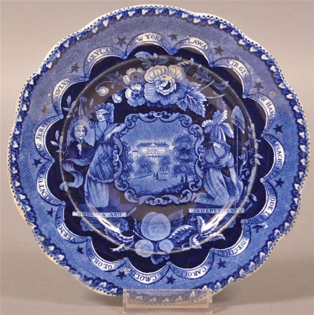 """Historical Staffordshire Blue """"States"""" Plate."""
