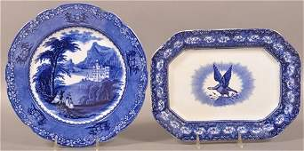 2 Pieces of Flow Blue Transfer Decorated China.