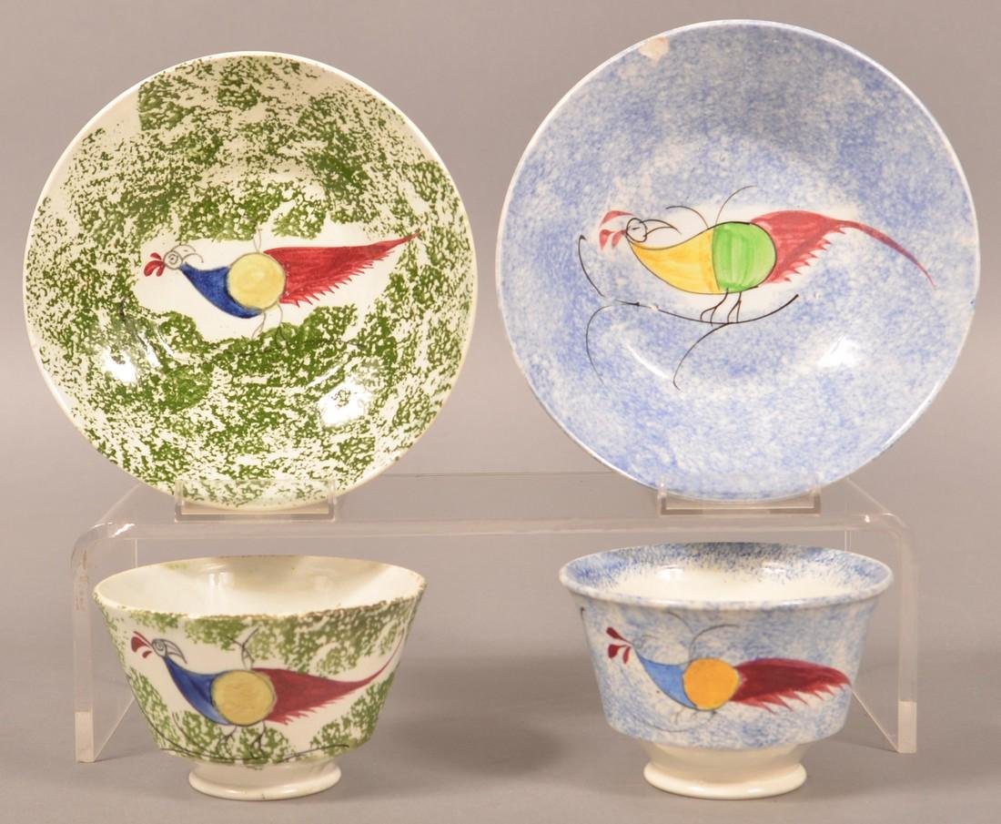 Two Spatterware Peafowl Cups and Saucers.