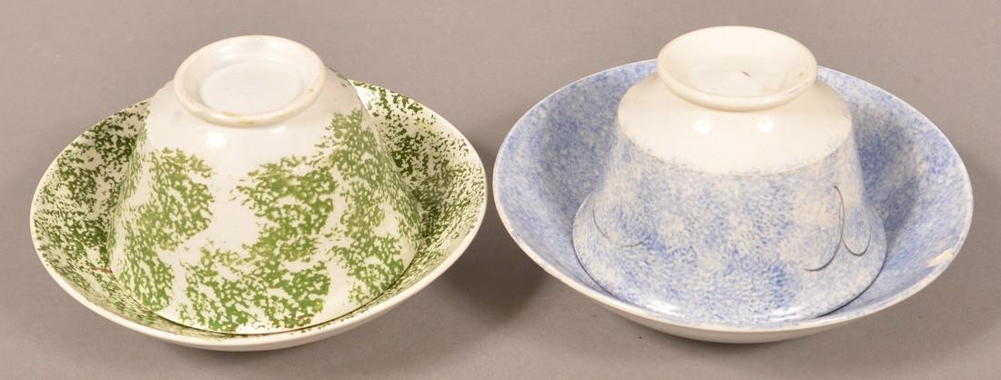 Two Spatterware Peafowl Cups and Saucers. - 3