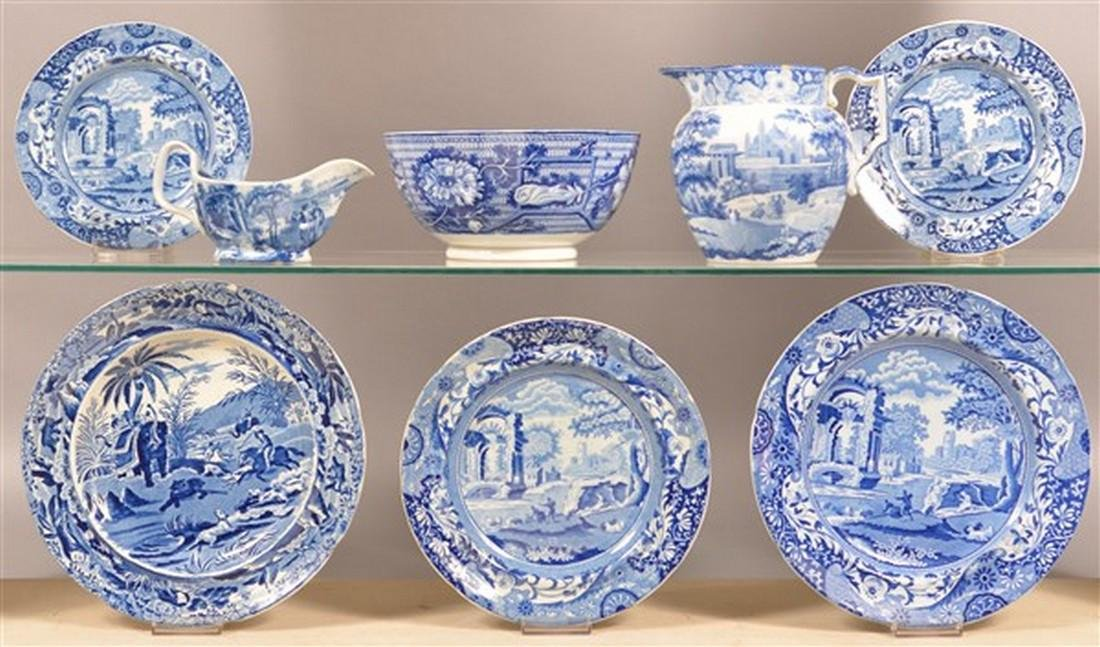8 Pieces of Staffordshire Blue Transfer China.
