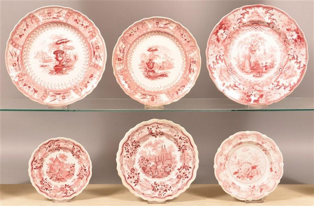 Six Staffordshire Red Transfer China Plates.