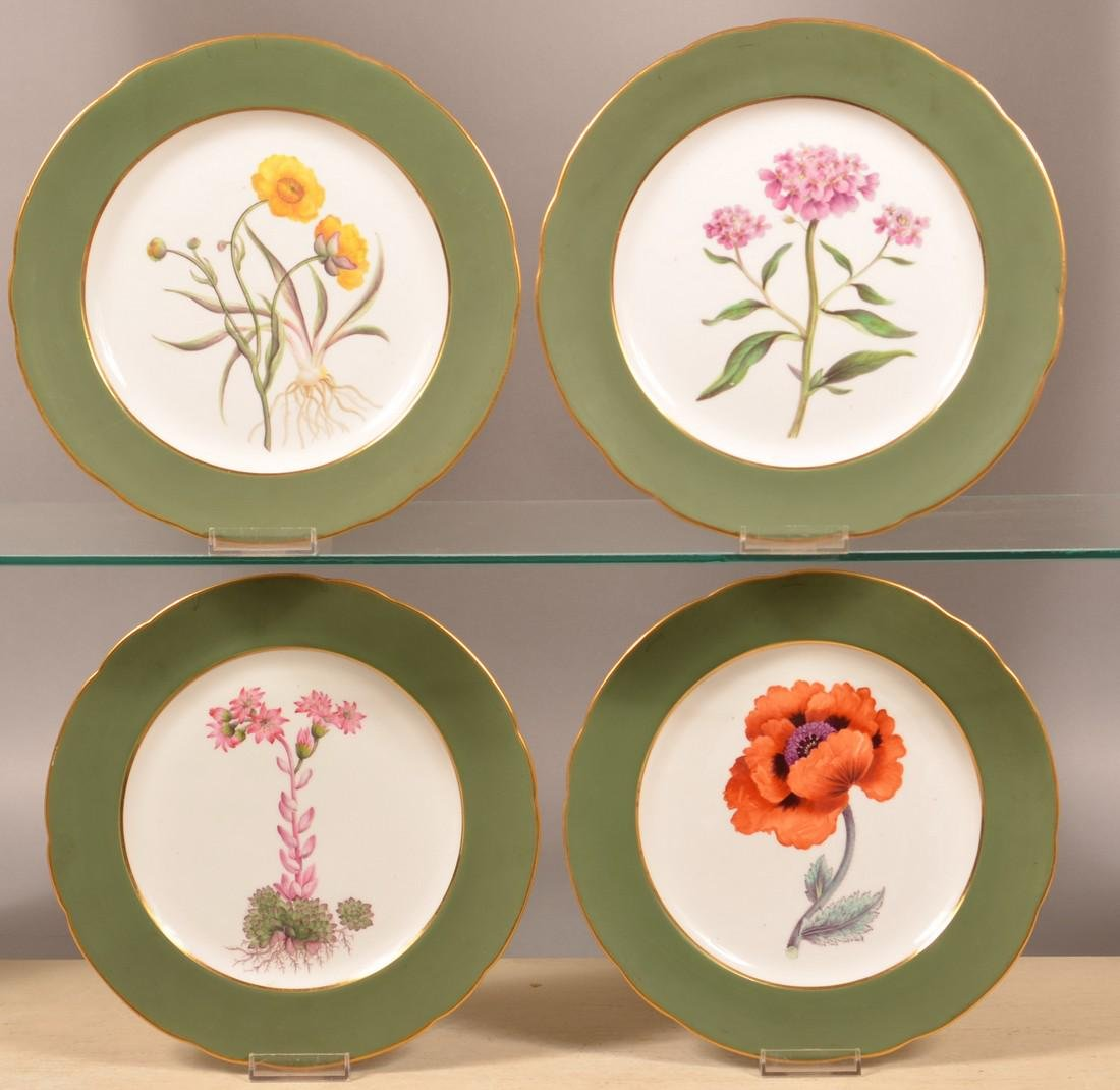 Set of Four Davenport China Hand Painted Plates.