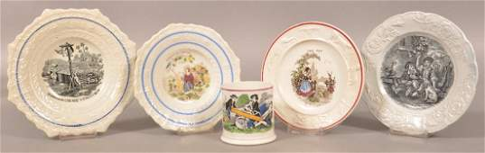 5 Pieces of Child's Transfer Staffordshire China.