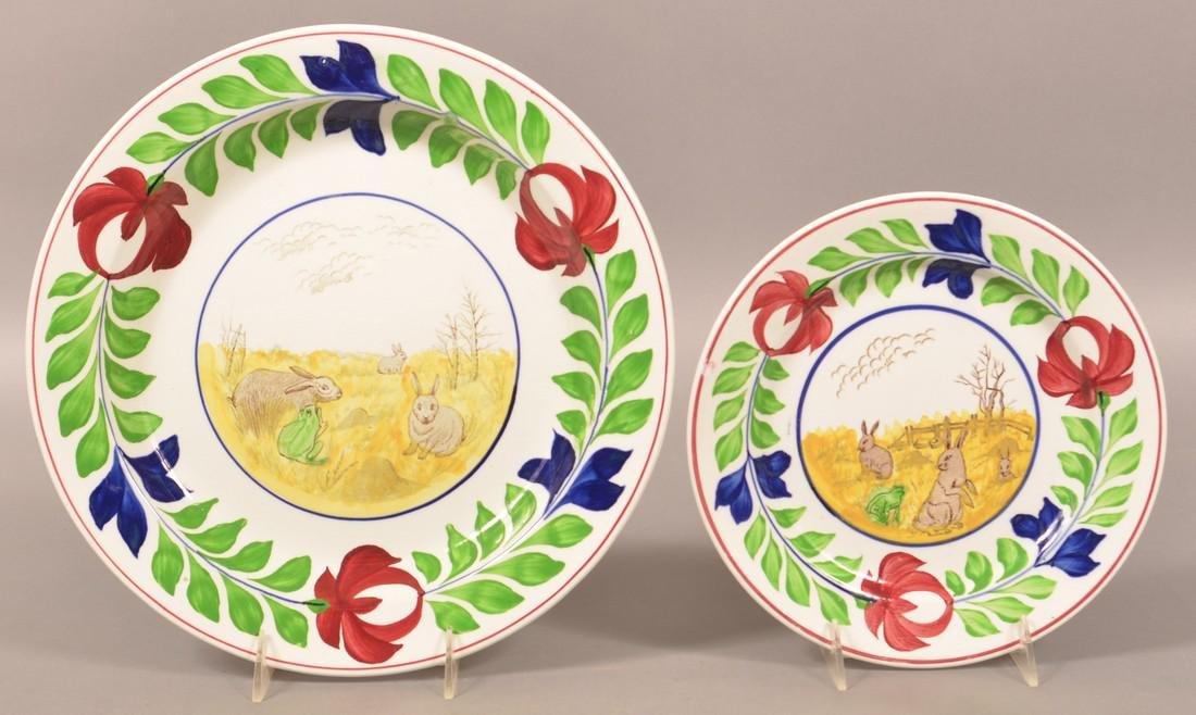 2 Rabbitware with Frog Ironstone China Plates.