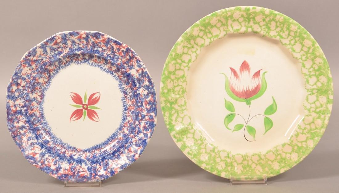 Two Sponge Border Ironstone China Plates.