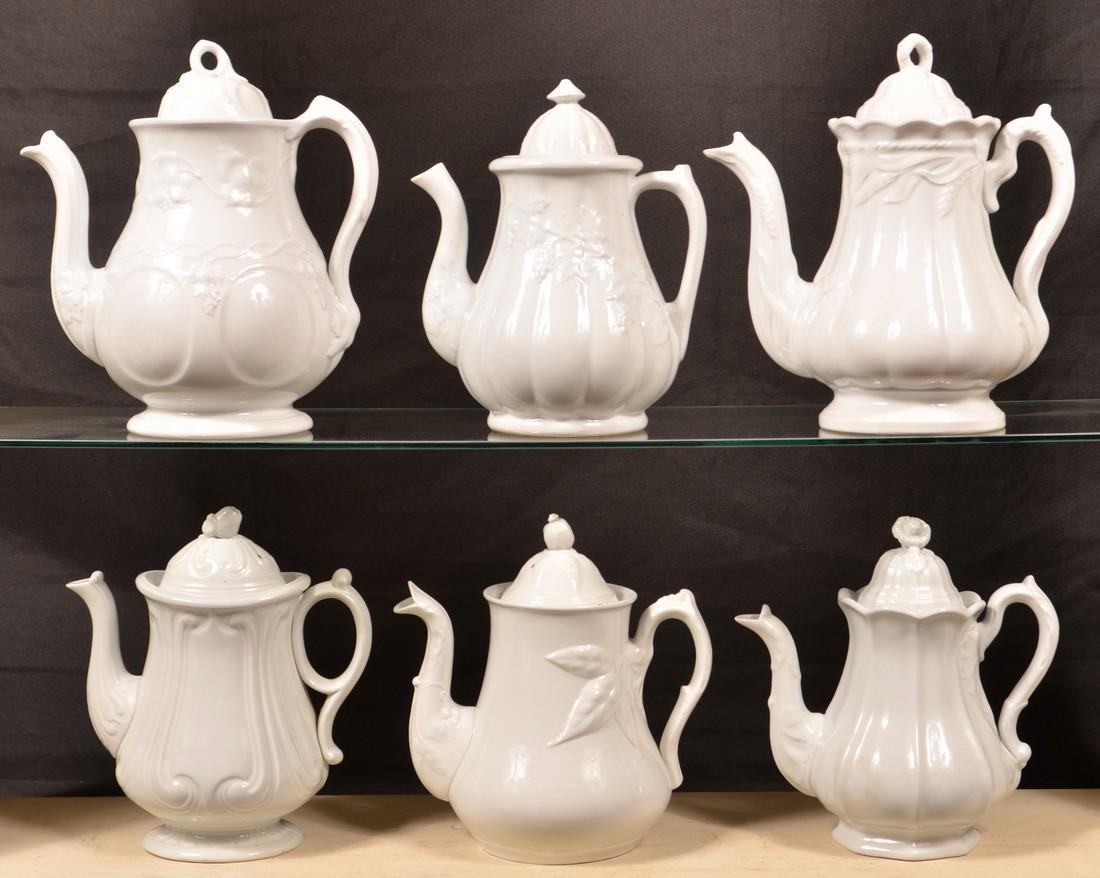 Six Various White Ironstone China Coffee Pots.