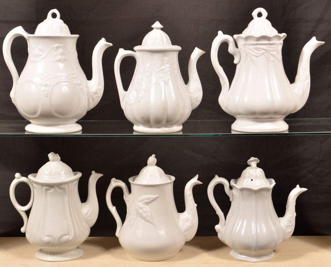 Six Various White Ironstone China Coffee Pots. - 2