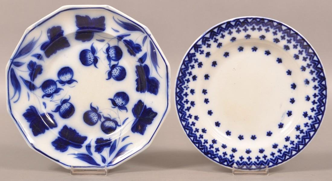 Two Flow Blue Ironstone China Plates.