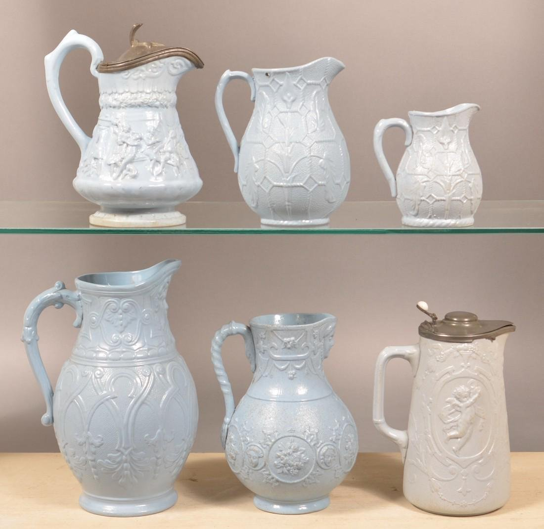 Six Pieces of English 19th Century Blue Parian.