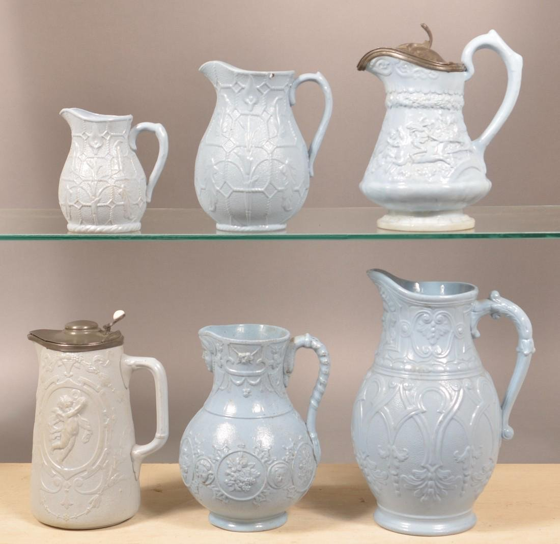 Six Pieces of English 19th Century Blue Parian. - 2