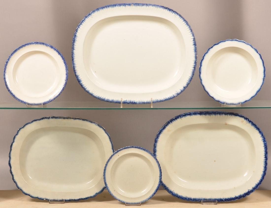 Six Pieces of Leeds Blue Feather Edge China.