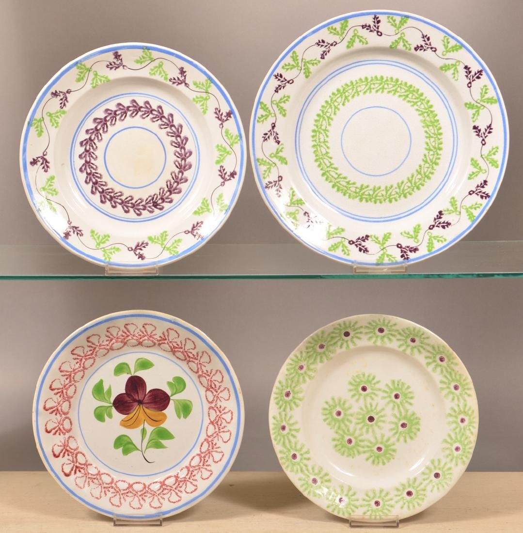 Four Stick Spatter Ironstone China Plates.