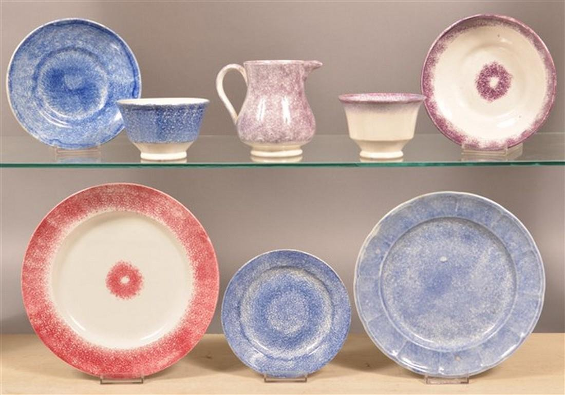 Lot of Solid Color Spatterware China.