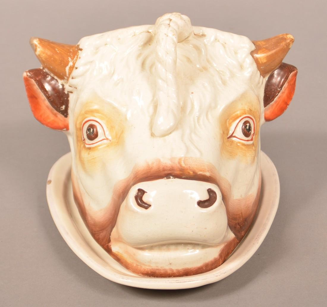 Staffordshire 19th Cent. Cow Head Cheese Dish.