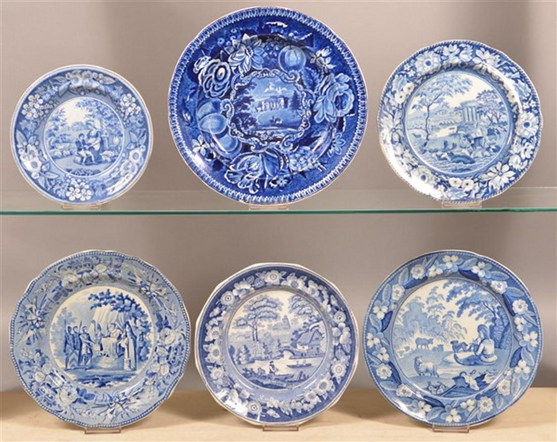 Six Various Staffordshire Blue Transfer Plates.