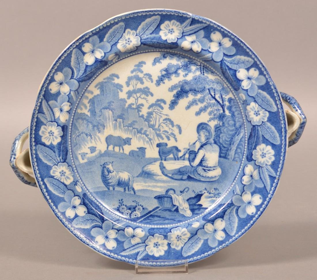Staffordshire China Blue Transfer Hot Plate.