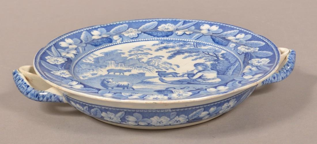 Staffordshire China Blue Transfer Hot Plate. - 2