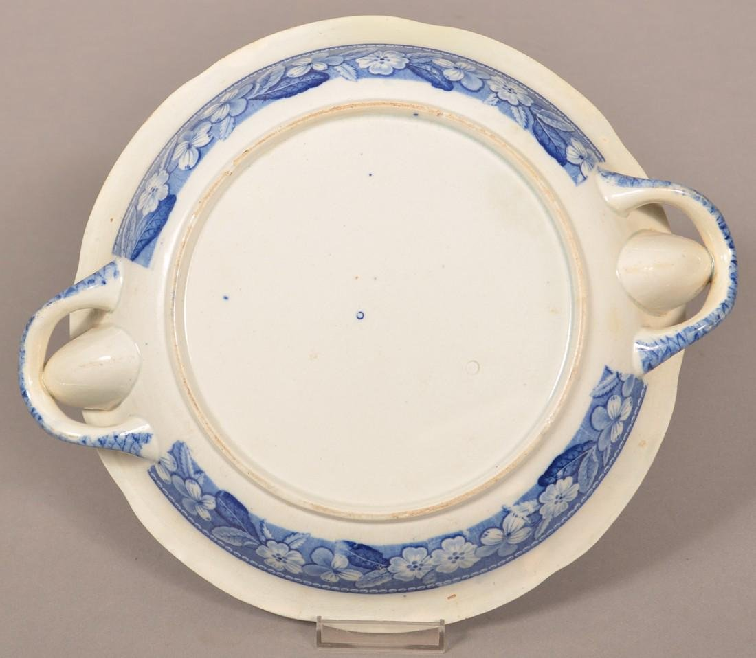 Staffordshire China Blue Transfer Hot Plate. - 3
