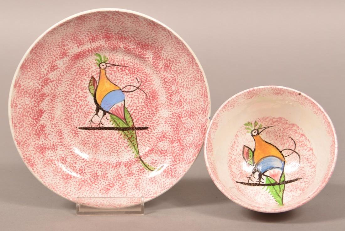 Red Spatter Peafowl on Bar Cup and Saucer.