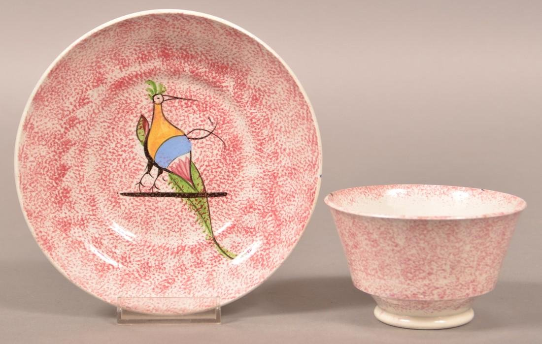 Red Spatter Peafowl on Bar Cup and Saucer. - 2