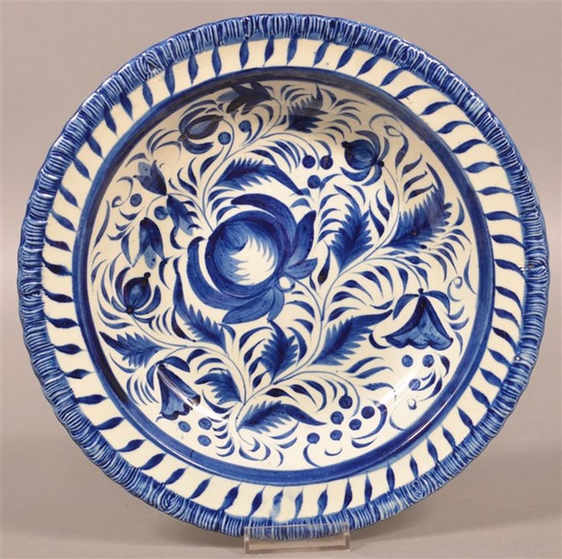 Leeds Soft Paste Blue Decorated Soup Plate.