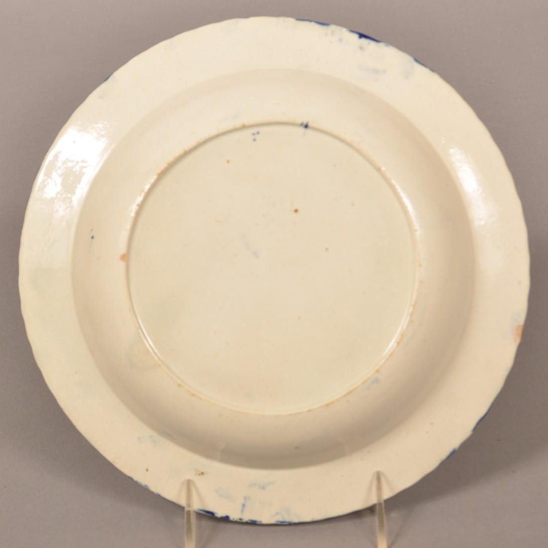 Leeds Soft Paste Blue Decorated Soup Plate. - 2