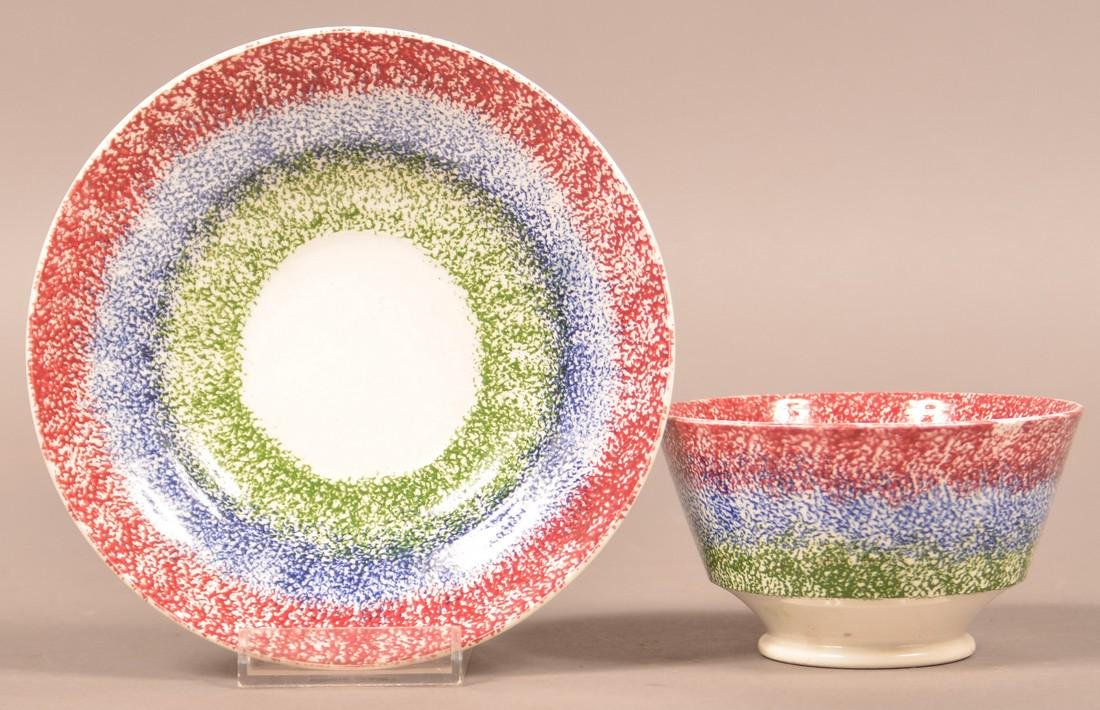 Three Color Spatter China Cup and Saucer.