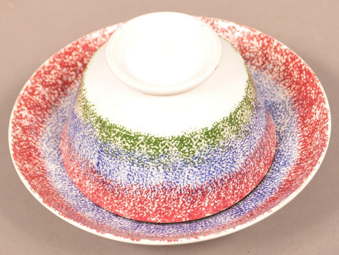 Three Color Spatter China Cup and Saucer. - 2