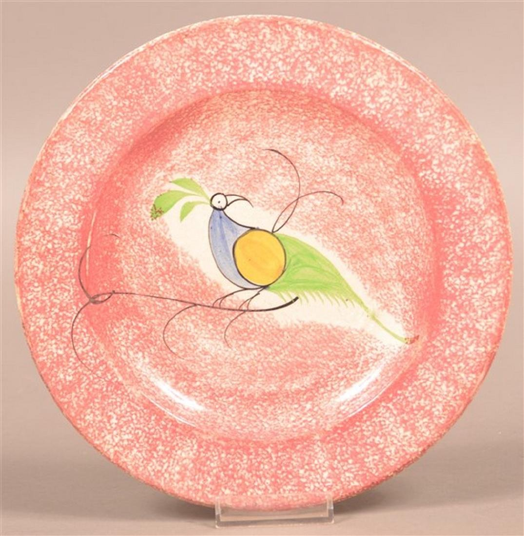 Red Spatter Peafowl Pattern Plate.