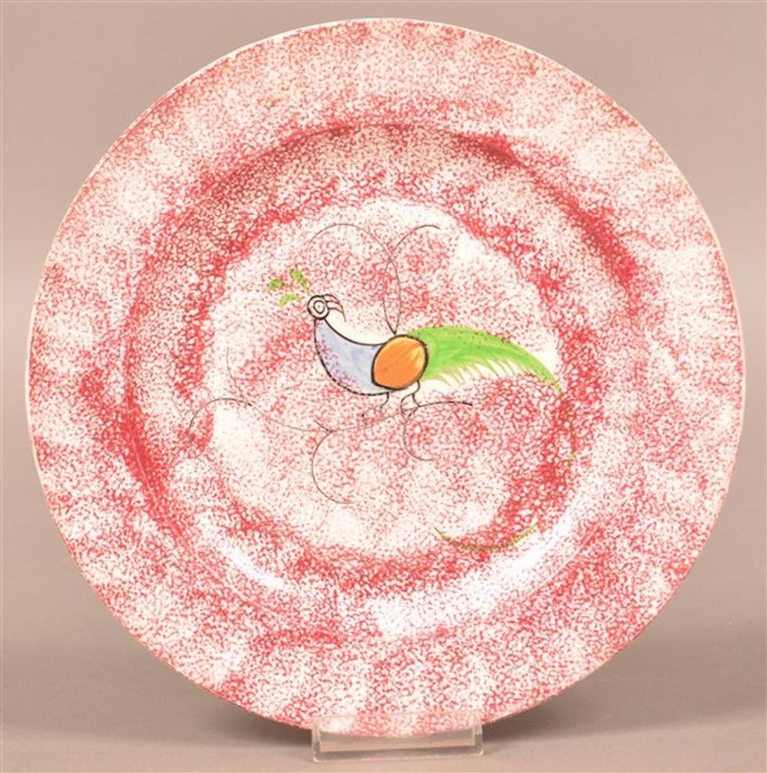 Red Spatter Peafowl Pattern Toddy Plate.