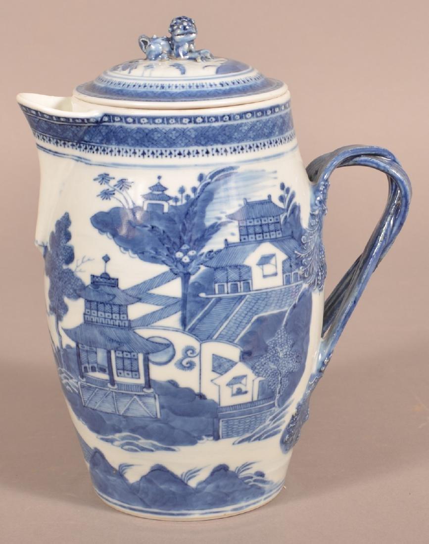 Canton Oriental Porcelain Covered Cider Jug.