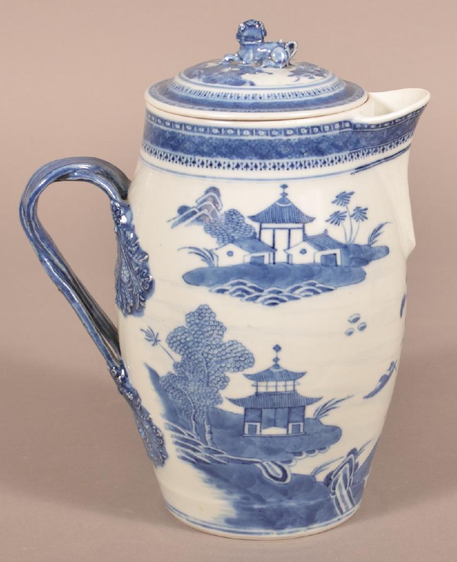 Canton Oriental Porcelain Covered Cider Jug. - 2