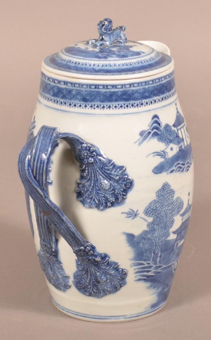 Canton Oriental Porcelain Covered Cider Jug. - 3