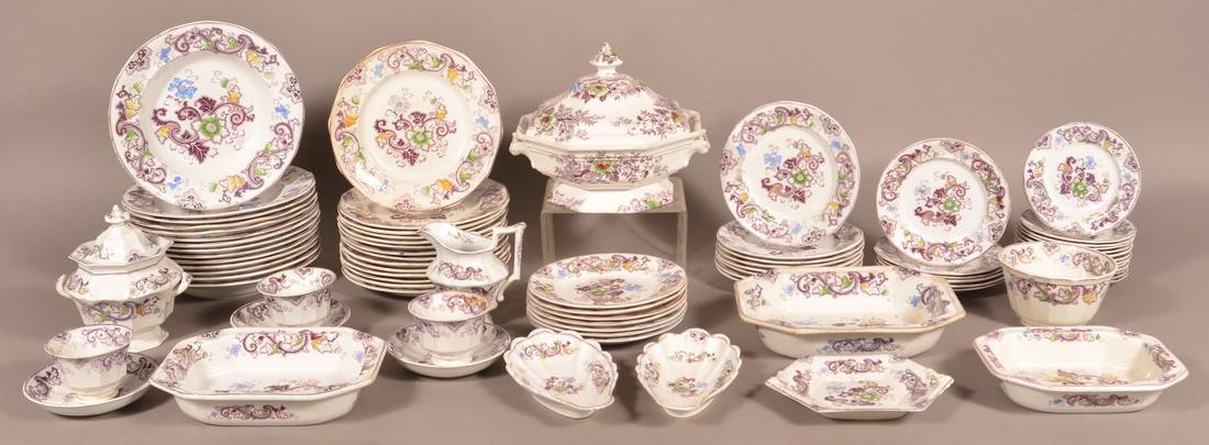 "74 Pcs Purple Transfer Ironstone ""Aurora"" China."