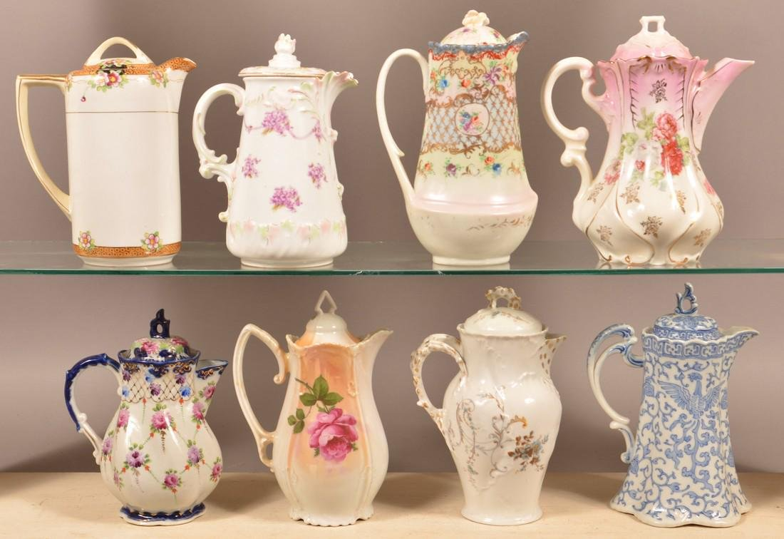 Eight Various Decorated China Chocolate Pots. - 2