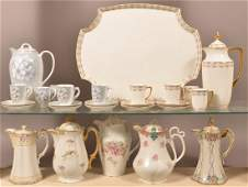 Seven Various Decorated China Chocolate Pots