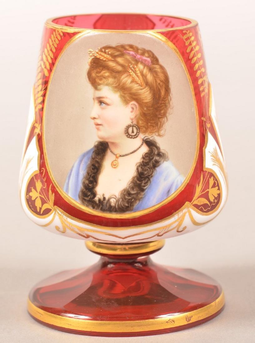 Cranberry Overlay Art Glass Portrait Vase.