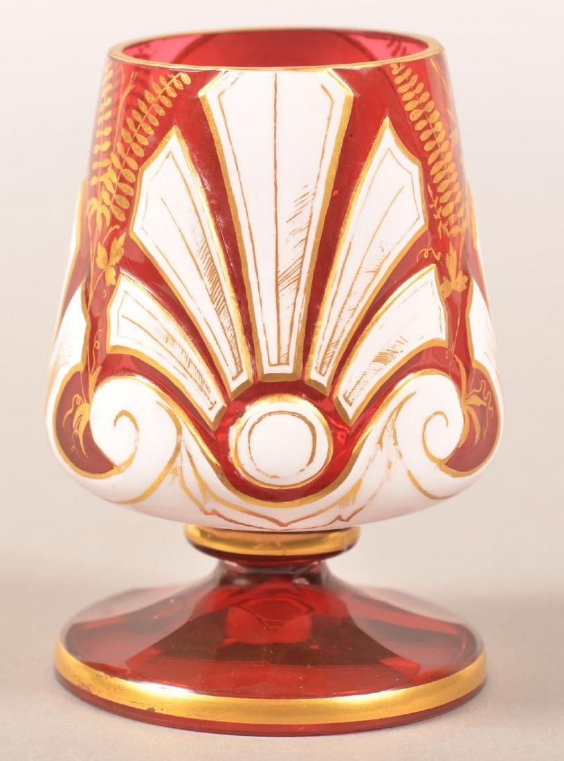 Cranberry Overlay Art Glass Portrait Vase. - 2