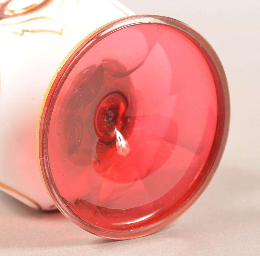 Cranberry Overlay Art Glass Portrait Vase. - 3