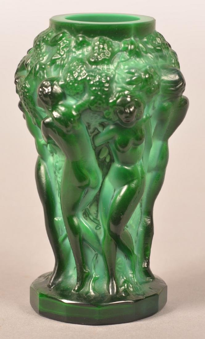 Lalique Malachite Glass Art Deco Vase.