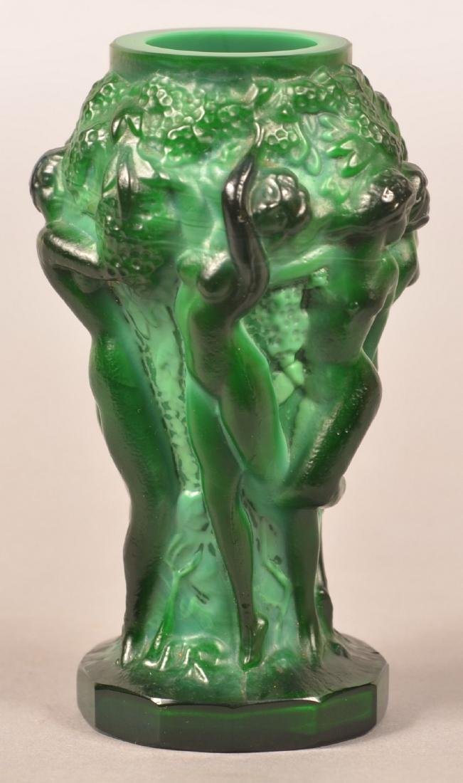 Lalique Malachite Glass Art Deco Vase. - 2