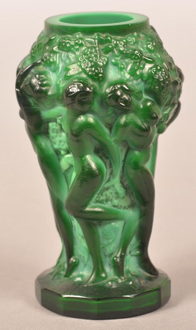 Lalique Malachite Glass Art Deco Vase. - 3